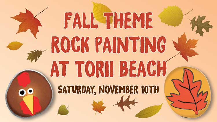Fall Themed Rock Painting at Torii Beach