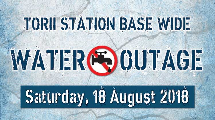 Base Wide Water Outage Scheduled for Saturday, 18 August 2018