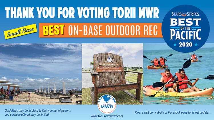 Thank You For Voting Torii MWR Best On-Base Outdoor Recreation!