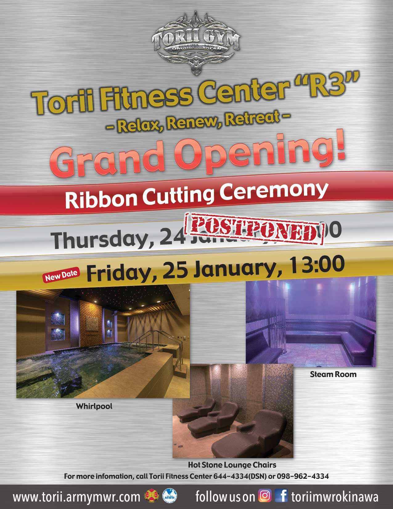 """Grand Opening of Torii Fitness Center's New """"R3"""" -Relax, Renew, Retreat- Room"""